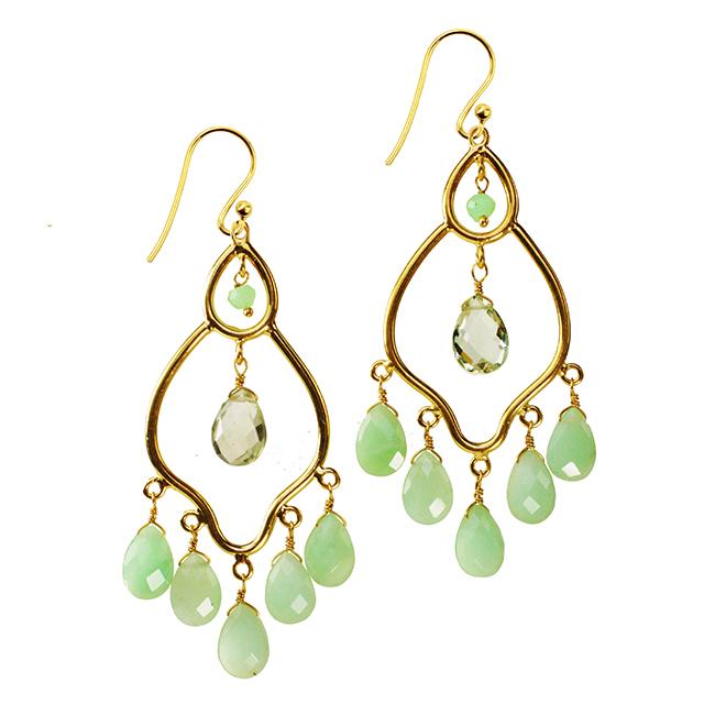 Jasmine Earrings Chrysoprase Green Amethyst