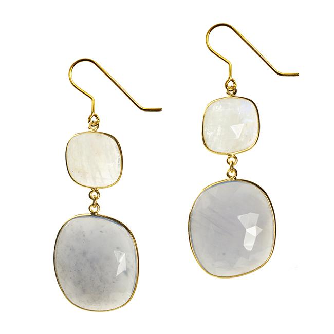 Talitha Earrings Moonstone Natural Chalcedony
