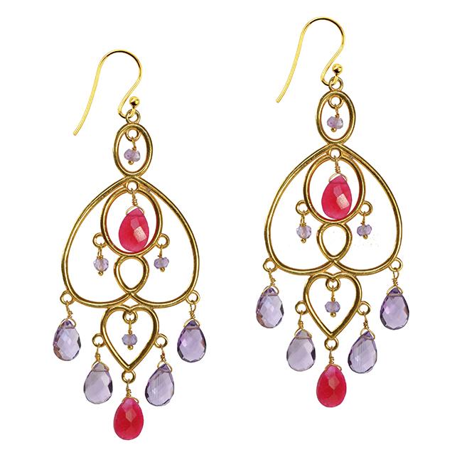 Amelie Earrings Ruby Amethyst