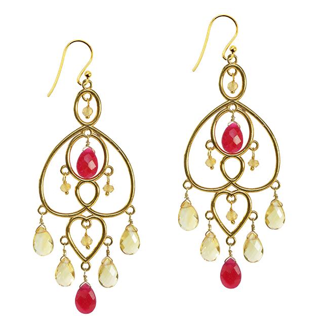 Amelie Earrings Ruby Citrine