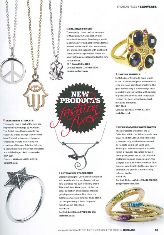Professional Jeweller September 2012 Coverage