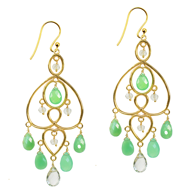 Amelie Chandelier Earrings Chrysoprase Green Amethyst