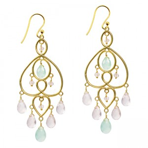 Amelie Earrings Aqua Chalcedony Pink Chalcedony