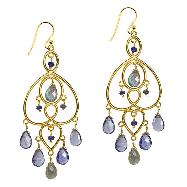 Amelie Earrings Labradorite Iolite