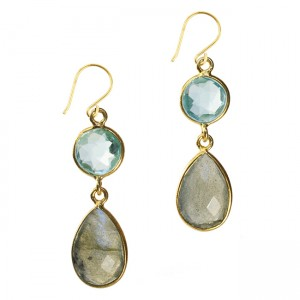 Belinda Bel Earrings Blue Topaz Labradorite