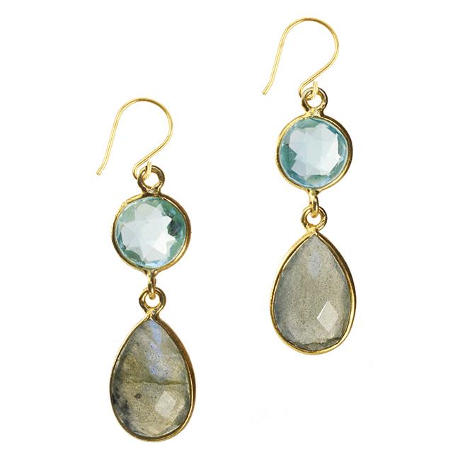 Belinda Bel Earrings Blue Topaz Labradorite