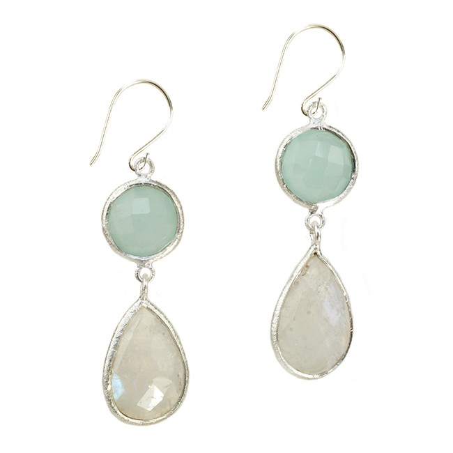 Belinda Bel Earrings Moonstone Aqua Chalcedony Silver