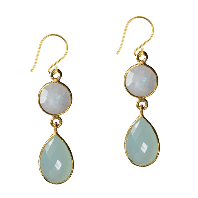 Belinda Bel Earrings Moonstone Aqua Chalcedony