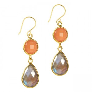 Belinda Bel Earrings Peach Moonstone Labradorite