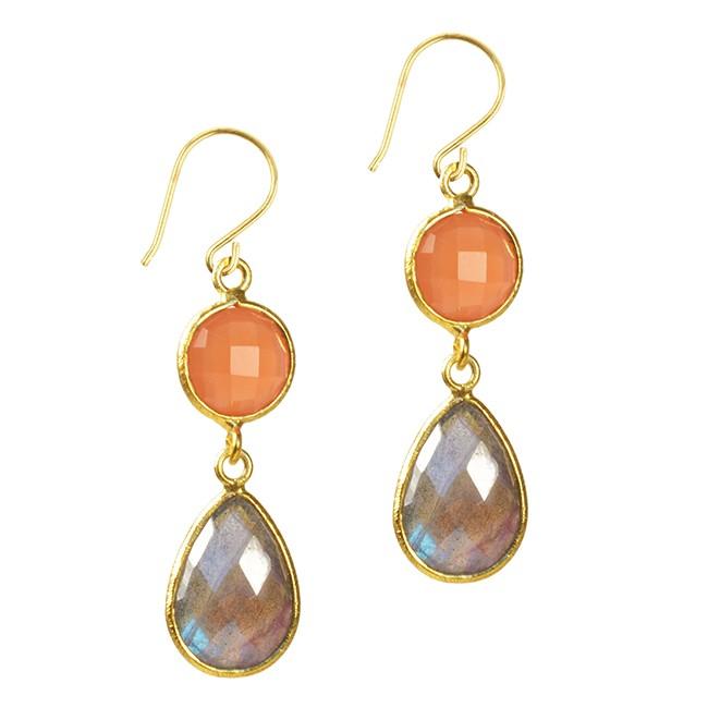 Belinda Bel Earrings Peach Moonstone Labradorite