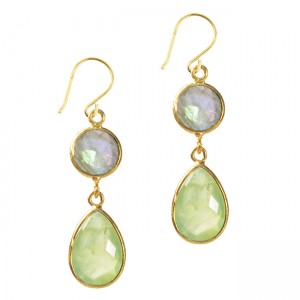 Belinda Bel Earrings Prehnite Labradorite