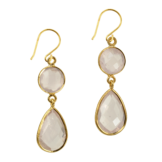 Belinda Bel Earrings Rose Quartz
