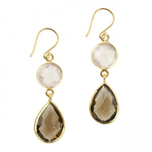 Belinda Bel Earrings Smoky Quartz Rose Quartz
