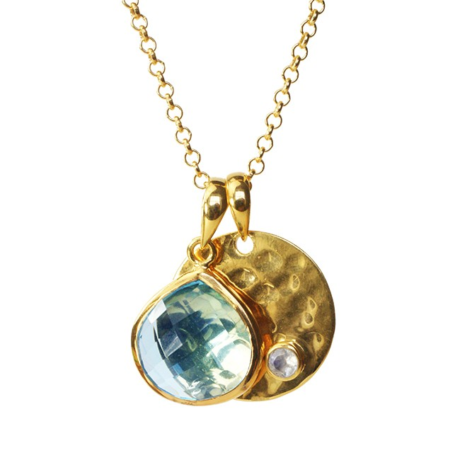 Candy Pear Disc Necklace Blue Topaz