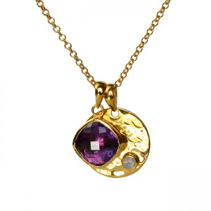 Candy Pear Disc Pendant Amethyst