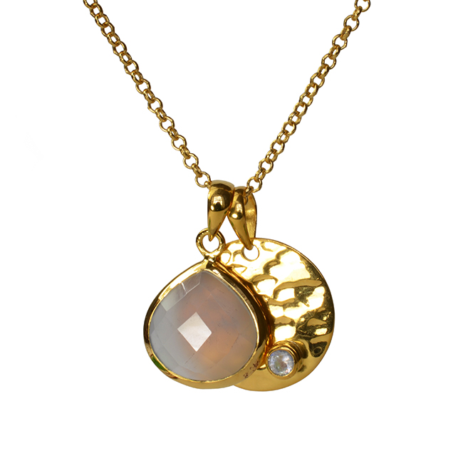 Candy Pear Disc Pendant Natural Chalcedony