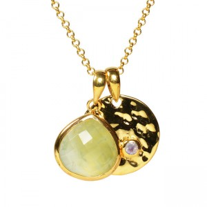 Candy Pear Disc Pendant Prehnite