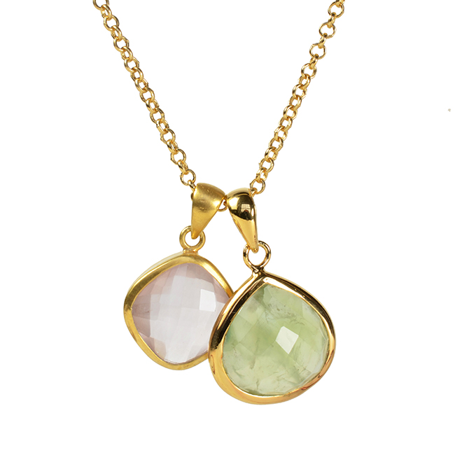 Candy Pear Double Pendant Prehnite Rose Quartz