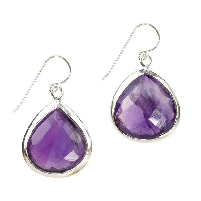 Candy Pear Earrings Amethyst Silver