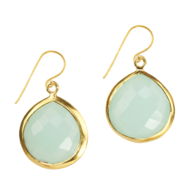 Candy Pear Earrings Aqua Chalcedony