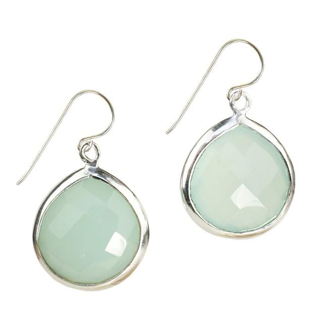 Candy Pear Earrings Aqua Chalcedony Silver