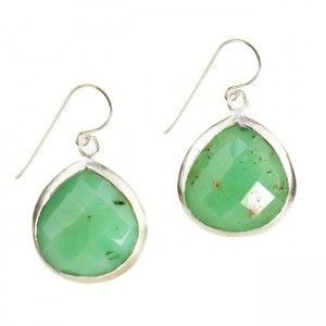 Candy Pear Earrings Chrysoprase Silver