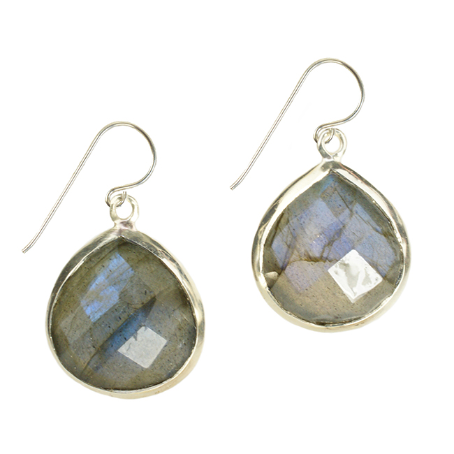 Candy Pear Earrings Labradorite Silver