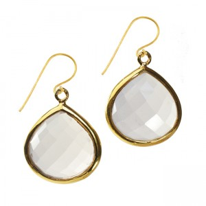 Candy Pear Earrings Natural Chalcedony