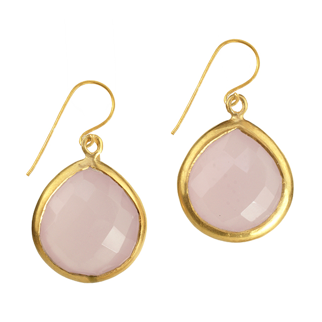 Candy Pear Earrings Pink Chalcedony
