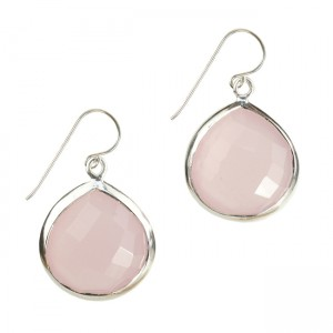 Candy Pear Earrings Pink Chalcedony Silver