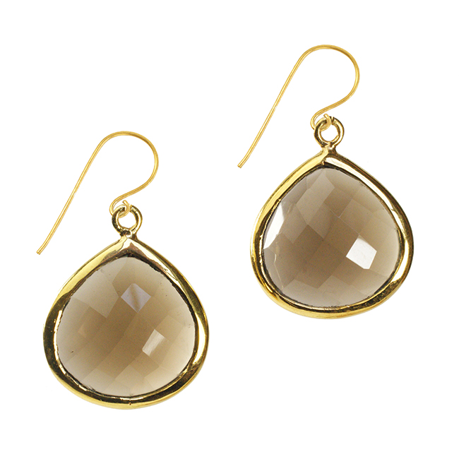 Candy Pear Earrings Smokey Quartz