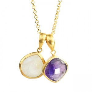Candy Pear Necklace Amethyst Moonstone