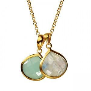 Candy Pear Necklace Aqua Chalcedony Moonstone
