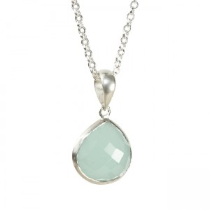 Candy Pear Necklace Aqua Chalcedony Silver