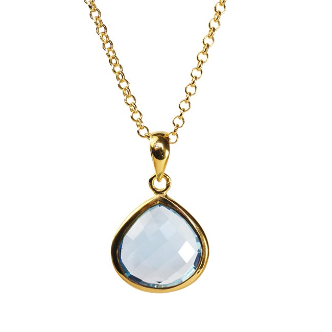 Candy Pear Necklace Blue Topaz