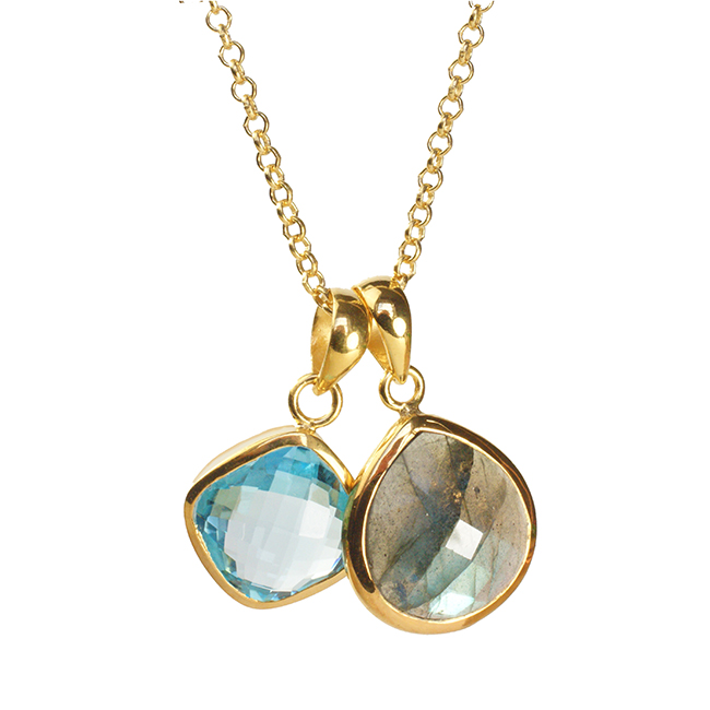 Candy Pear Necklace Blue Topaz Labradorite