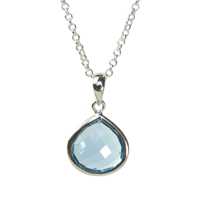 Candy Pear Necklace Blue Topaz Silver