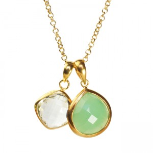 Candy Pear Necklace Chrysoprase Green Amethyst