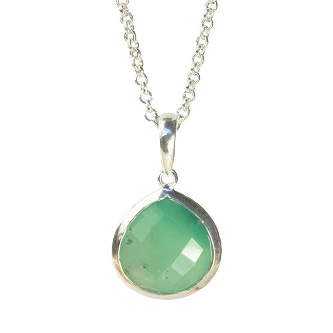 Candy Pear Necklace Chrysoprase Silver