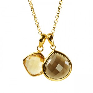 Candy Pear Necklace Citrine Smoky Quartz