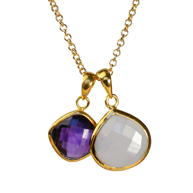 Candy Pear Necklace Natural Chalcedony Amethyst