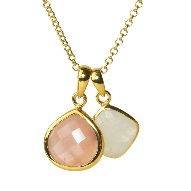 Candy Pear Necklace Peach Moonstone Moonstone