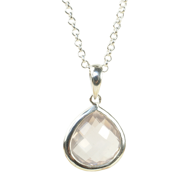 Candy Pear Necklace Rose Quartz Silver