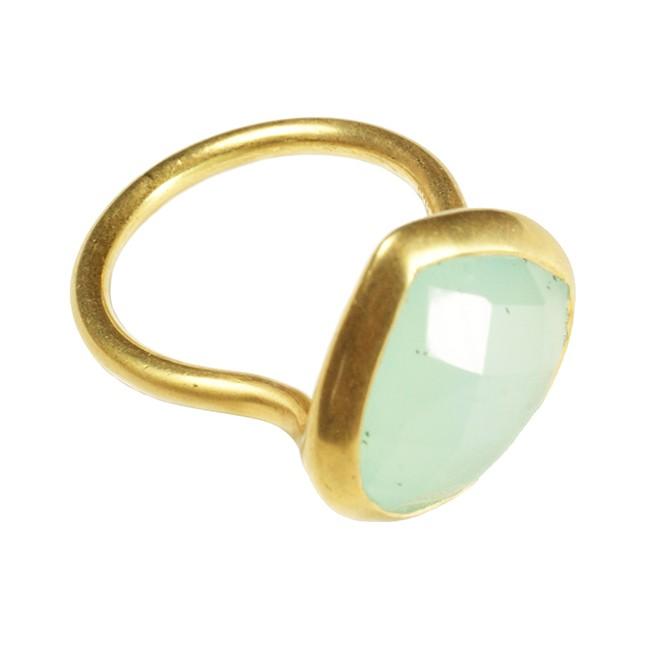 Candy Pear Ring Aqua Chalcedony
