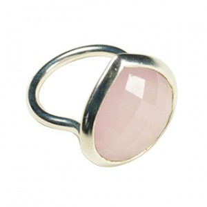 Candy Pear Ring Pink Chalcedony Silver