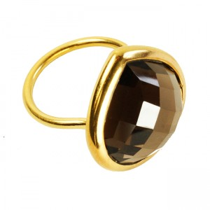 Candy Pear Ring Smoky Quartz