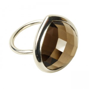Candy Pear Ring Smoky Quartz Silver