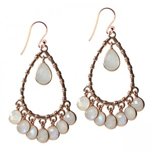 Clara Earrings Moonstone Rose Gold