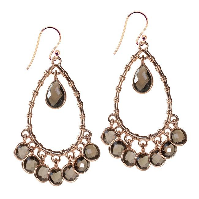 Clara Earrings Smoky Quartz Rose Gold