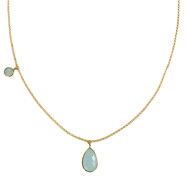 Clara Necklace Aqua Chalcedony